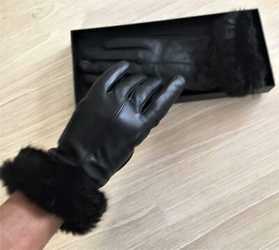 BLACK GENUINE real soft LEATHER GLOVES ladies S / M Beige Wool Cashmere Lining