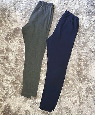 Two Blooming Marvellous Maternity Over Bump Leggings Size 12- navy and grey