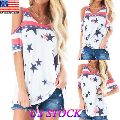 289c9673e966ef Women American Flag Loose Casual Off Shouder T-shirt Tops Blouse Tee Plus  Size