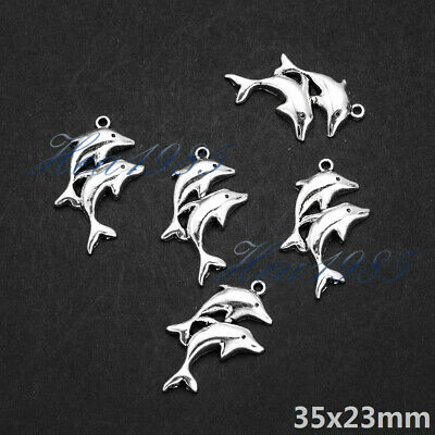 18PCS Cute Black Tone Alloy Enamel Jumping Dolphin Charms Pendant 37041