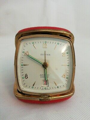 Vintage. Estyma Travel Alarm very rare  with date facility excellent condition