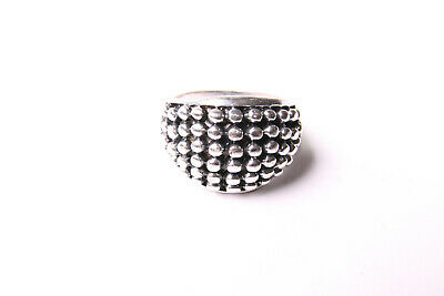 Silver Colour Ladies Ring Modern Look Metal Front Beads Retro Inspired (T569)