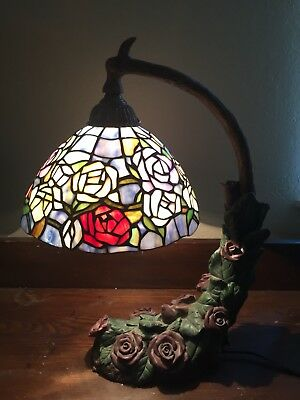 Tiffany Style Rose Canopy Stained Glass Shade Figural Bed of Roses Table Lamp