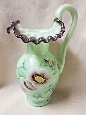 Fenton SEA GREEN PLUM CREST Iridescent Pitcher-Hand Painted by Stacy Allman 10""