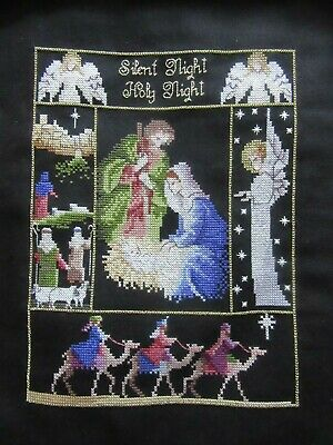 cross stitch finished picture silent night