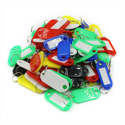 50-2000 Key Tags Plastic ID Tags Name Label Key Ring Fob Tag Assorted Colours