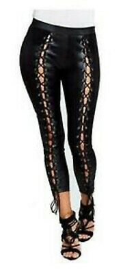 New Girls Women's Sexy Wet Leather Look Hot Legging With Front Shoe Lace Up 8-14
