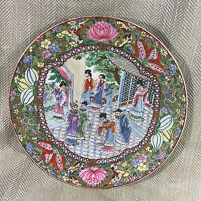 Vintage Chinese Charger Plate Hand Painted Famille Rose Large