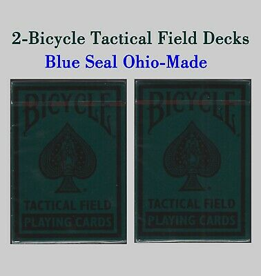 2 - Bicycle Tactical Field Playing Cards - Blue Seal Ohio Made! 1 has torn cello