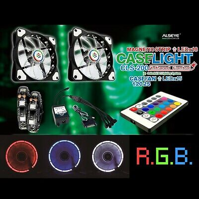 RGB Fan kit PC Chassis Cooling Fan Rainbow Remote 120mm Lights Colourful Cooling