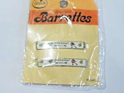 Vintage Goody Hair Barrette Set Of Two Tennis Anyone Two Girls Playing On Card