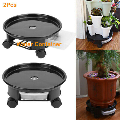 Natural Resin 2pc Plant Saucer Caddy Plant Dolly with Wheels Roller Water Drawer
