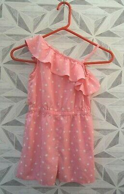 Matalan Palm Tree Print One Shoulder Salmon Pink Play-Suit Age 8 Years -  K7