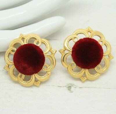 Statement 1980s Vintage Red Velvet Baroque Style Round Gold EARRINGS Jewellery