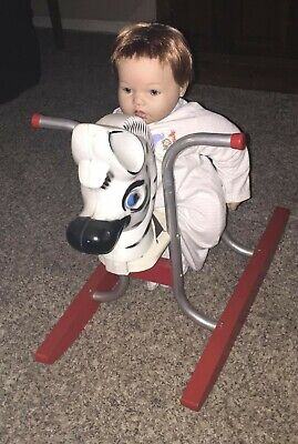 Child's Wooden Metal Rocking Horse Zebra Maybe Display Dolls (DOLL NOT INCLUDED)