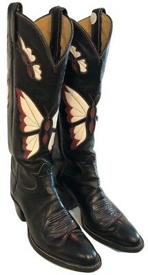 Tony Lama Black Label Vintage 1970s Tall Inlaid Butterfly Boots Women's 5.5