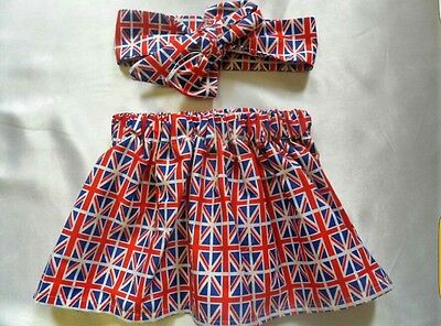 Union Jack Baby's Skirt and Headwrap New