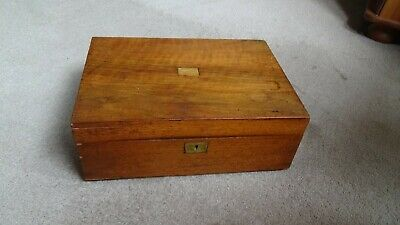 Antique Victorian Wooden Writing Slope Nice Colour Original Lock
