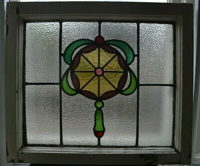 Frame 529 x 464mm. Leaded light stained glass window sash fanlight. R944a.