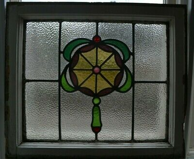 Frame 529 x 464mm. Leaded light stained glass window sash fanlight. B944 x1.