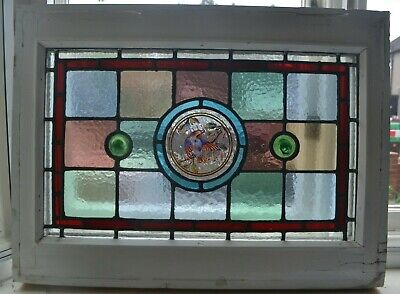 2 leaded light stained painted glass window sashes fanlights. R941c/d