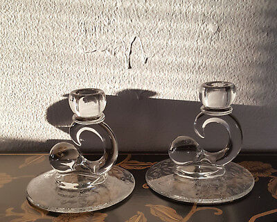 SET OF 2  Crystal Baroque Design Etched Candle Stick Holders Etched Antique