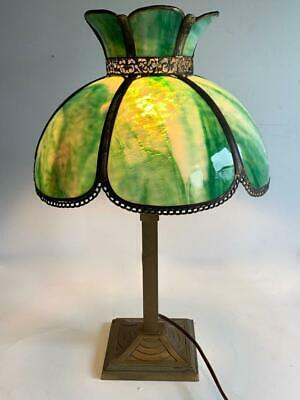 Antique MILLER Arts & Crafts 6 Panel Slag Glass Table Lamp