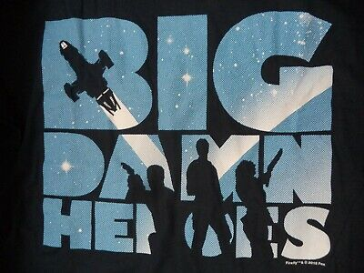 """""""BIG DAMN HEROES"""" from Firefly TV Series T Shirt Black Cotton Man's Large NWOT"""
