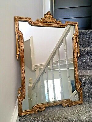 Stunning Vintage Gold Giltwood Mirror Swags Leaf Scrolls French Louis Xvi Style