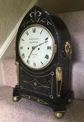 Rare Regency Gothic Empire Bracket Clock Twin Fusee Two Bells !