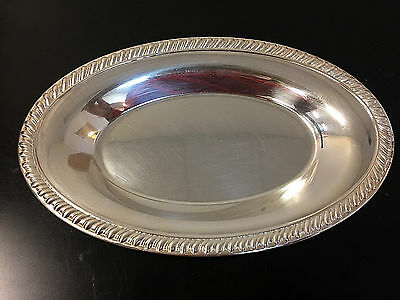 Vintage LEONARD Silver Plated Oval Bread/Serving Tray 11.5-Inches
