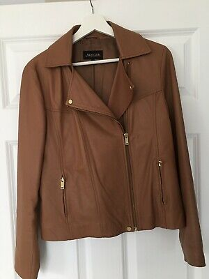 ladies tan leather jacket by Jaeger size 12