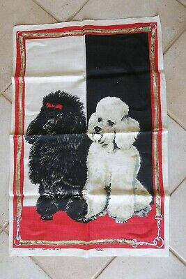 Vintage Ulster Linen Tea Towel Poodles Dogs Black and White