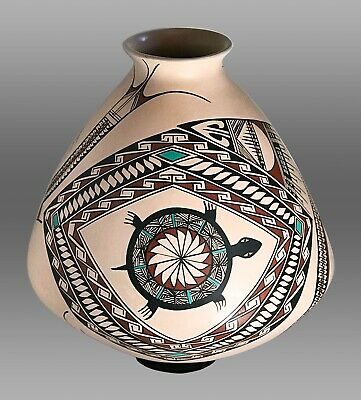 BLANCA OLIVAS Mata Ortiz Hand-Built Hand-Painted Pottery Large Water Jar - RARE!