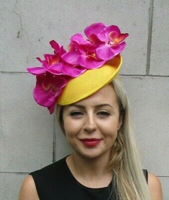 Royal Blue Fuchsia Hot Pink Orchid Flower Saucer Disc Hat Fascinator Races 7166