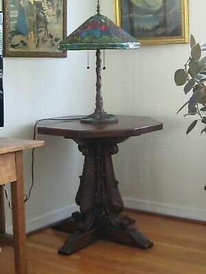 Century Furniture Co Grand Rapids 1900-05 Carved Dolphins Table Stickley Era