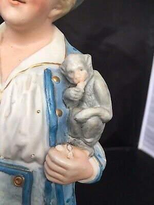 ANTIQUE Vintage French POTTERY BISQUE BOY WITH PET MONKEY figure rare figurine