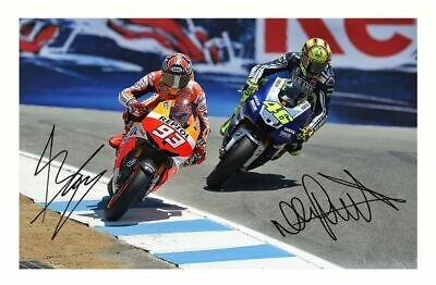 Valentino Rossi & Marc Marquez Autographed Signed A4 Pp Poster Photo