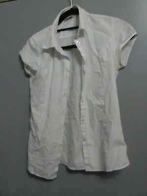 Ex BHS Girls School Blouse Pack of 2 White Short Sleeve Non Iron Age 4-16