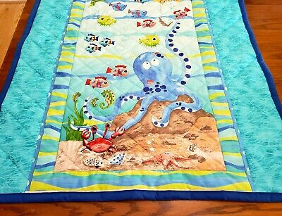 """HOMEMADE """"SEA LIFE"""", 35x42in COTTON, BOYS BABY/TODDLER  QUILTED BLANKET-GIFTIDEA"""