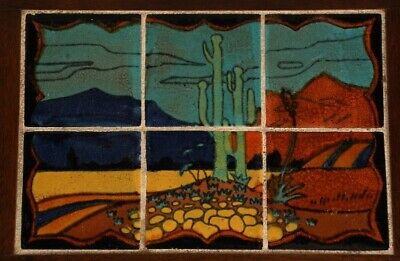 Antique 1920's Spanish California Revival Tudor Tile Table  Desert Scene (11956)