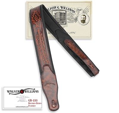 Walker & Williams GB-133 Bourbon Brown Native American Feather Padded Strap