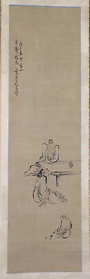"""JAPANESE HANGING SCROLL ART Painting """"Figures"""" Asian antique  #E7846"""