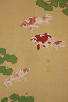 """JAPANESE HANGING SCROLL ART Painting """"Gold fish"""" Asian antique  #E7862"""