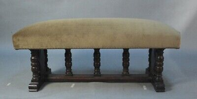 Antique 1920s Spanish Revival Tudor Carved Walnut Bench New Upholstery (11929)