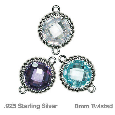 Sterling Silver 8mm Twisted Bezel Connectors w/ Coloured Cubic Zirconia