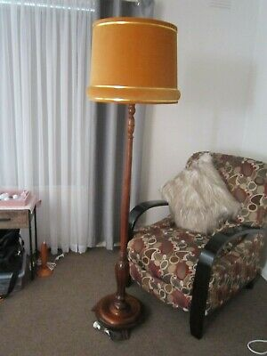 Vintage Very Retro Timber Standard Floor Lamp with Velvet Shade