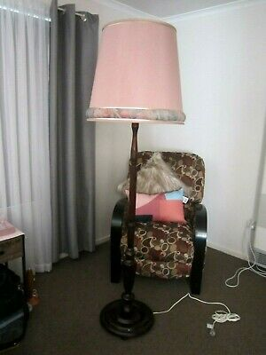 Stately Vintage Retro Timber Standard Floor Lamp with Lovely Pink Shade