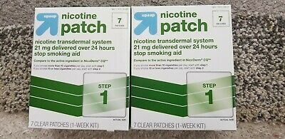2 Box UP&UP Nicotine CLEAR Patch System 21mg  Step 1 Exp 02/2020 Total 14Patches
