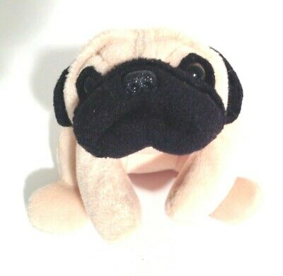 """VINTAGE Cute Beanie Baby Pug """"PUGSLY"""" 8"""" Long Plush Toy from TY Inc. No Ear Tag"""